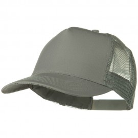 Solid Cotton Twill 5 panel Mesh Back Cap - Grey