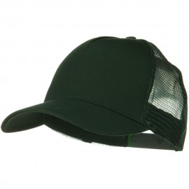 Solid Cotton Twil 5 panel Mesh Back Cap - Dark Green