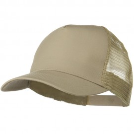 Solid Cotton Twill 5 panel Mesh Back Cap - Khaki