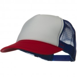 Two Tone Polyester 5 Panel Foam Front Mesh Back Cap - Red White Royal