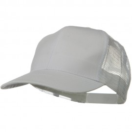 Solid Cotton Twill Mesh Prostyle Cap - White