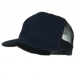 Flat Bill Snap Back Mesh Cap - Navy