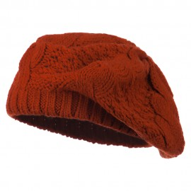 Acrylic Cable Knit Beret - Rust