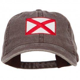 Alabama State Flag Embroidered Washed Cap