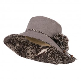Woman's Polyester Flower Accent Bucket Hat - Brown Cream