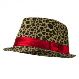 Girls Acrylic Blend Cheetah Print Fedora