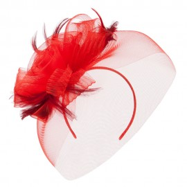 Horsehair Fascinator Hair Clip - Red