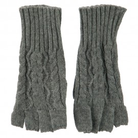 Women's Acrylic Cable Knit Fingerless Gloves
