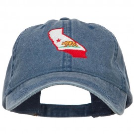 California State Flag Map Embroidered Washed Cap