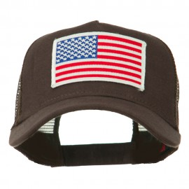 American Flag Patched 5 Panel Mesh Back Cap