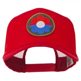US Army 9th Infantry Division Patched Mesh Back Cap - Red