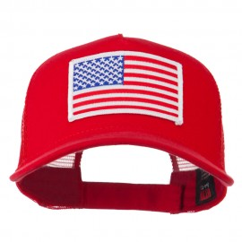 American Flag Patched 5 Panel Mesh Back Cap - Red