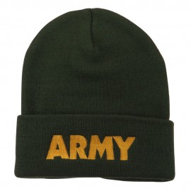 Army Embroidered Long Knitted Beanie - Olive