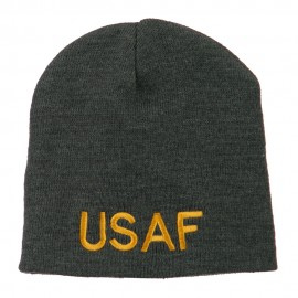 US Air Force Military Embroidered Short Beanie - Grey