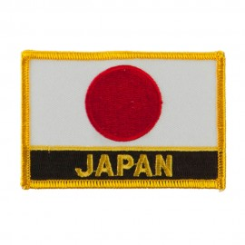 Asia and Australia Flag Name Embroidered Patch - Japan