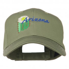 USA State Arizona Flower Embroidered Low Profile Cotton Cap