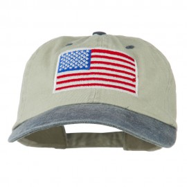 American Flag Embroidered Washed Two Tone Cap