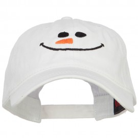 Christmas Snowman Smile Embroidered Washed Dyed Cotton Cap