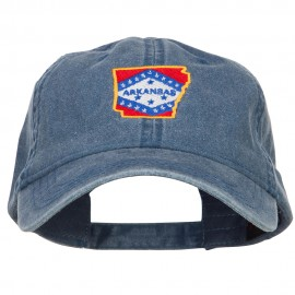 Arkansas State Map Flag Embroidered Washed Cap