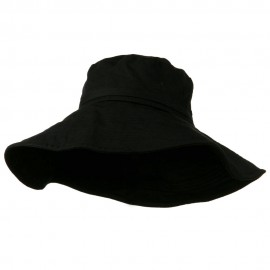 Big Size Ladies Linen Wide Brim Hat - Black