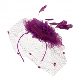 Flower Fascinator With Netting - Orchid