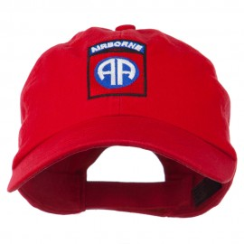 82nd Airborne Military Embroidered Pigment Dyed Cotton Cap - Red
