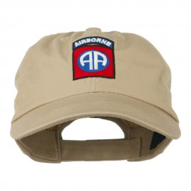 82nd Airborne Military Embroidered Pigment Dyed Cotton Cap - Khaki