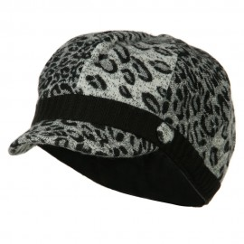 Animal Print Newsboy Cap - Black