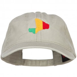 Mali Map Flag Embroidered Washed Cap