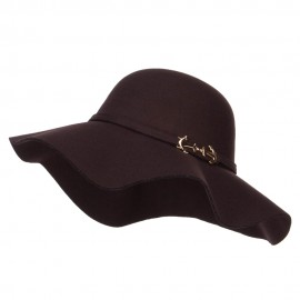 Poly Faux Felt Anchor Buckle Hat - Brown
