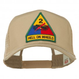 US Army 2nd Armored Division Patched Mesh Back Cap - Khaki