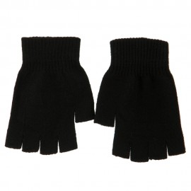 Women's Acrylic Fingerless Gloves - Black