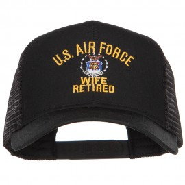 US Air Force Wife Retired Military Embroidered Mesh Cap