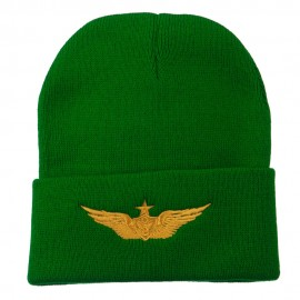 Aircraft Crewman Embroidered Long Beanie - Kelly