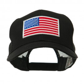 6 Panel Mesh American Flag White Patch Cap