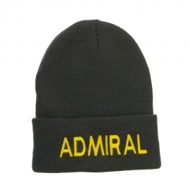 Admiral Military Embroidered Long Beanie