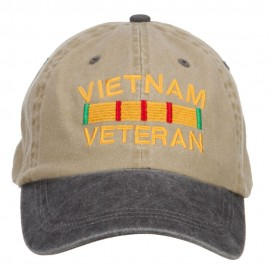 Vietnam Veteran Embroidered Washed Two Tone Cap - Khaki Black