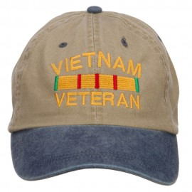 Vietnam Veteran Embroidered Washed Two Tone Cap - Khaki Navy