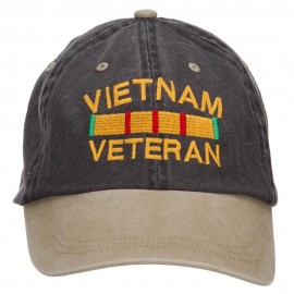 Vietnam Veteran Embroidered Washed Two Tone Cap