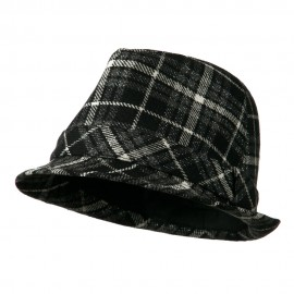 Women's Black And Charcoal Plaid Fedora