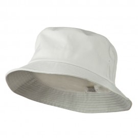 Big Size Cotton Blend Twill Bucket Hat - White