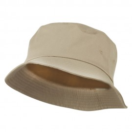Big Size Cotton Blend Twill Bucket Hat - Khaki