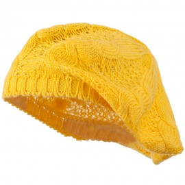 Big Cable Knitted Beret - Yellow