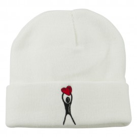 Breast Cancer Body Heart Embroidered Long Beanie