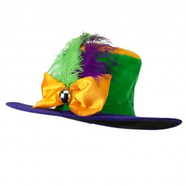 Ladies Mardi Gras Hat with Bowtie and Feather - Purple