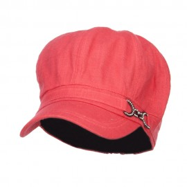 Women's Buckle Band Newsboy Hat - Fuchsia