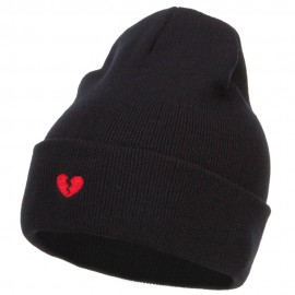 Mini Broken Heart Embroidered Long Beanie