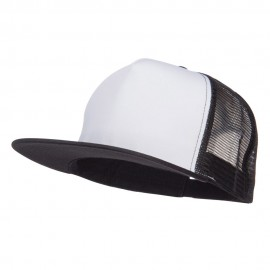 Flat Bill Snapback Trucker Cap - White Black