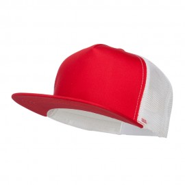Flat Bill Snapback Trucker Cap - Red White