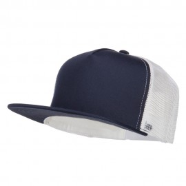 Flat Bill Snapback Trucker Cap - Navy White